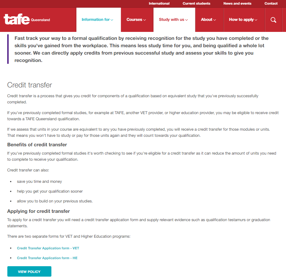 Good Practice Note - Admissions Transparency -  Figure 32 - TAFE Queensland